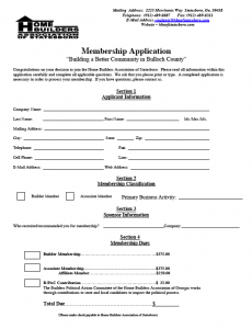 HBA of Statesboro Membership Application